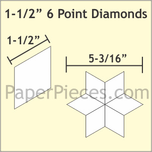 "1-1/2"" 6 Point Diamond Acrylic Template"