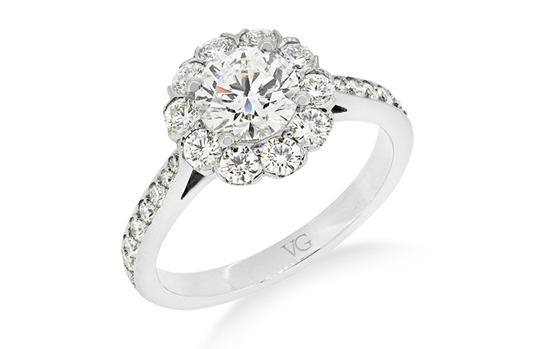 1 carat brilliant diamond cluster ring