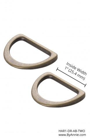 "1"" Flat D-Rings Antique Brass"
