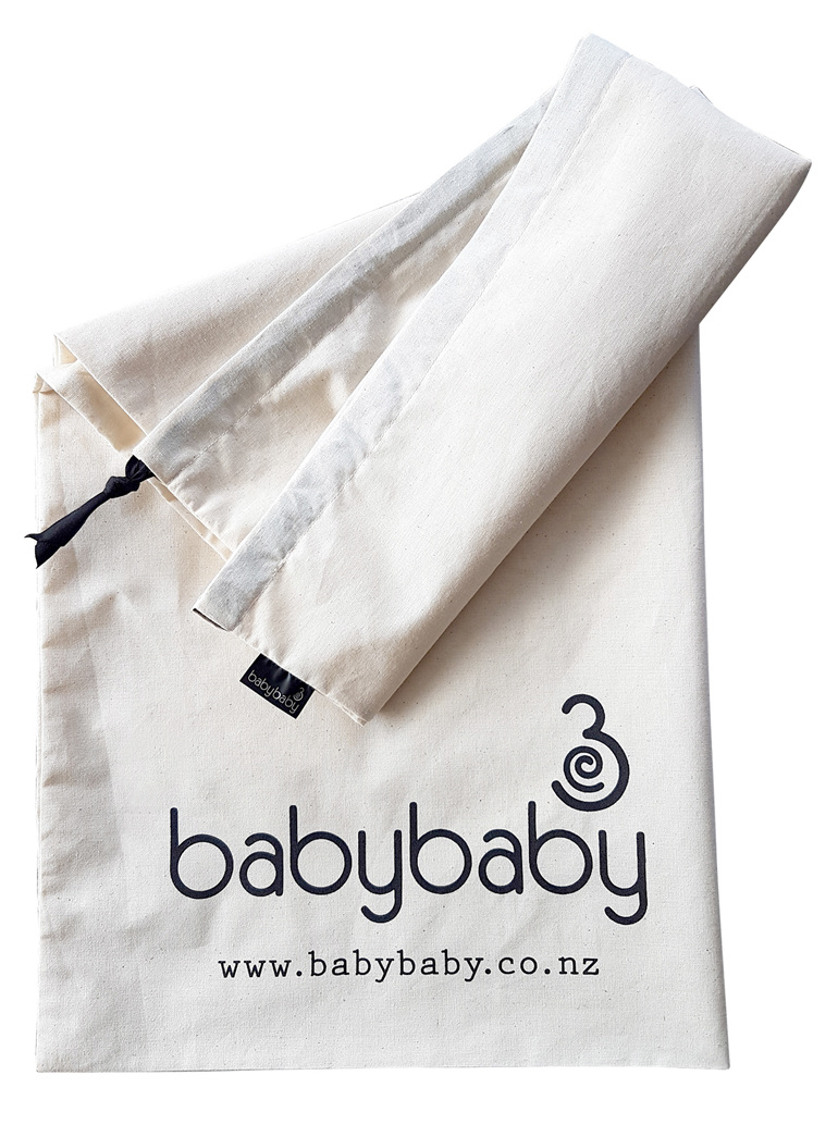 100% natural cotton pillow bag with BabyBaby logo on it for nursing pillows