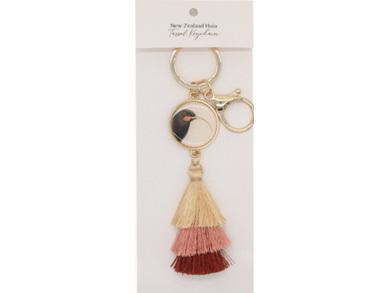 100% NZ Hushed Pink Huia Keychain