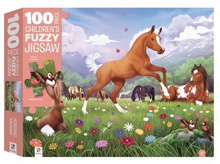 100 Piece Fuzzy Jigsaw Puzzle - Horsing Around
