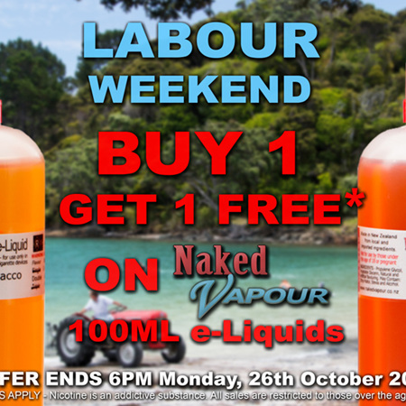 100ml - Buy 1, get 1 FREE  -  Naked Vapour e-Liquid