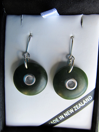 1023 Round drop greenstone douhgnut shaped earrings.