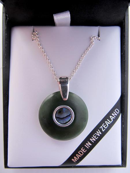 1029 Round Greenstone pendant with Paua inlay