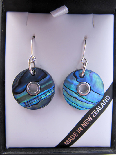 1032 Round Paua doughnut pendant earrings with silver inlay