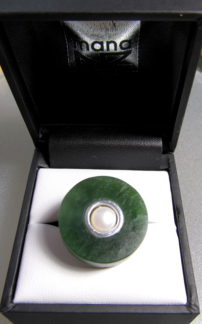 1040 Mana NZ Greenstone and pearl ring