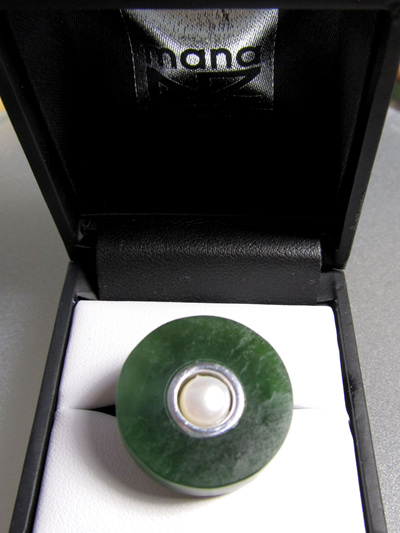 1040 Women's round greenstone and pearl, sterling silver adjustable ring