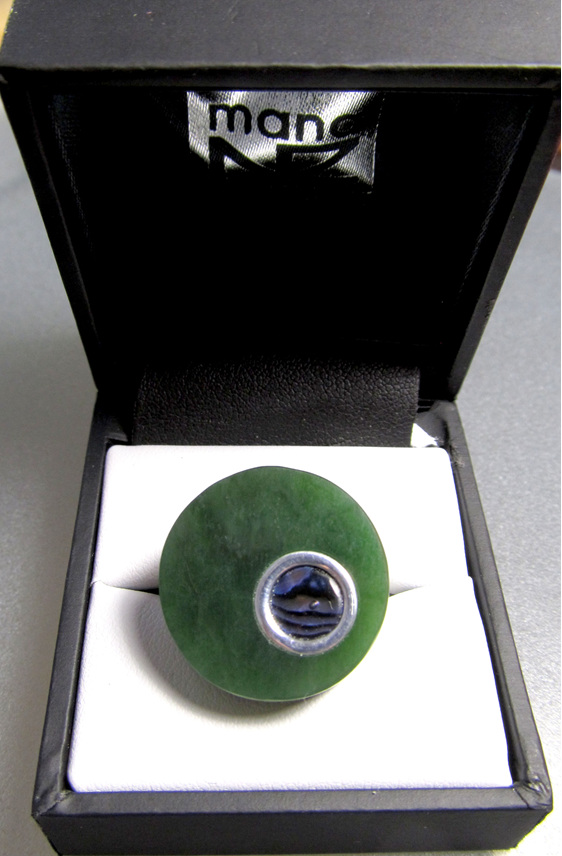 1041 Women's round greenstone and Paua adjustable sterling silver ring