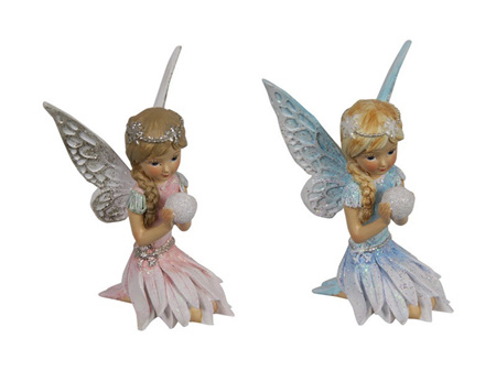 10cm Pink/Blue Sitting Winter Fairy
