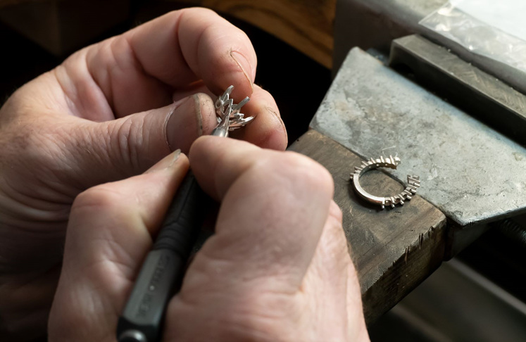 10ct Diamond Lotus Flower ring being crafted in our Wellington Workshop