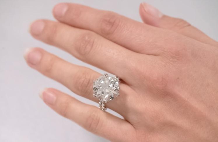 10ct Diamond Lotus Flower Ring on Hand