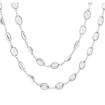 Oval White Topaz Necklace
