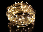 10m 100LED  Copper/Sliver Wire Battery Seed Fairy Lights - Warm White