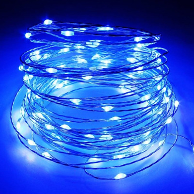 10m 100LED Sliver Wire Battery Seed Fairy Lights - Blue