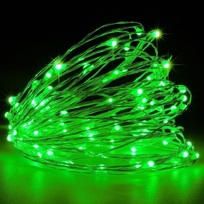 10m 100LED Sliver Wire Battery Seed Fairy Lights - Green