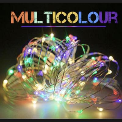 10m 100LED Sliver Wire Battery Seed Fairy Lights - Multicolour