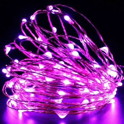 10m 100LED Sliver Wire Battery Seed Fairy Lights - Pink