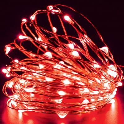 10m 100LED Sliver Wire Battery Seed Fairy Lights - Red