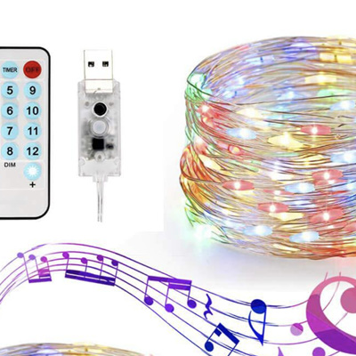 10m 100LEDs USB Music Activated Music Copper Wire Seed Fairy Lights - Multicolour