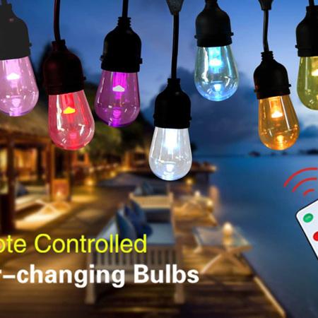 10m 18 bulbs Colour Changing Waterproof Outdoor Festoon Lights