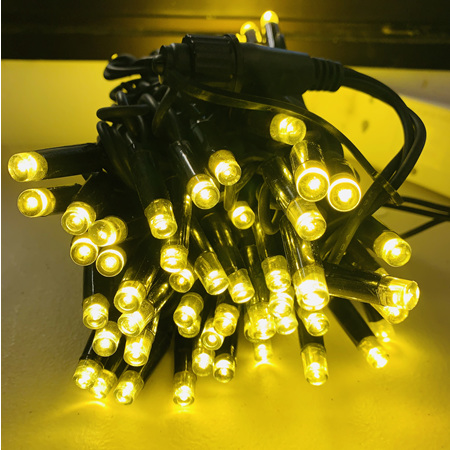 10m Black Rubber Cable Connectable Outdoor Fairy Lights 100 LEDs - Yellow/Gold