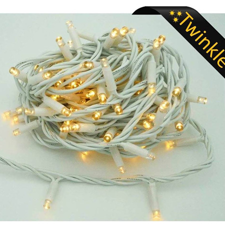 10m Outdoor White Rubber Wire Twinkle String Fairy Lights - Warm White