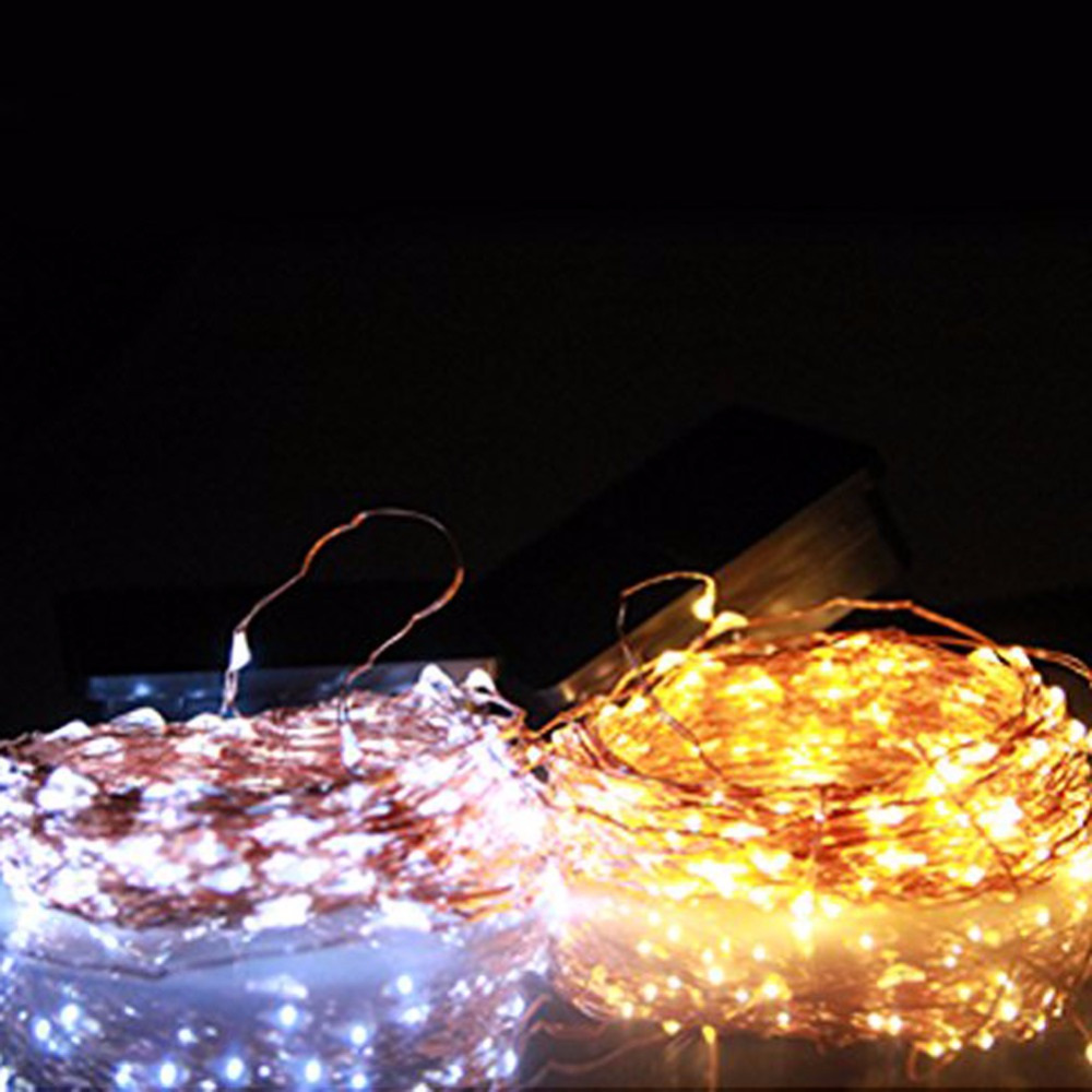 10m Solar Copper Wire Seed Fairy Lights Cool White Or