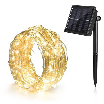10m Solar  Copper  Wire Seed Fairy Lights - Warm White