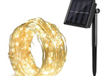 10m Solar  Silver  Wire Seed Fairy Lights - Warm White
