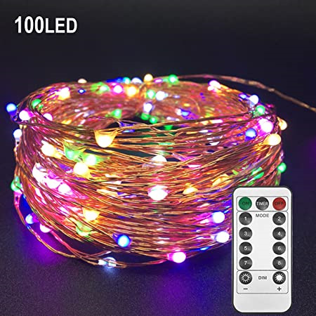 10m USB Copper Wire Seed String Fairy Lights with Remote Control - Multicolour