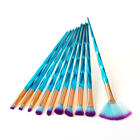 10pc Aqua UNICORN Makeup Brush Set