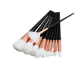 10pc Black & White Makeup Brush Set