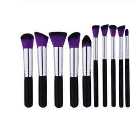 10pc Makeup Brush Set - Black/Silver/Purple