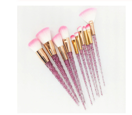 10pc Pink GLITTER Makeup Brush Set