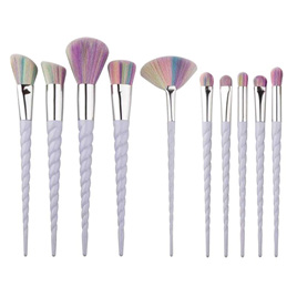10pc Purple & Multicoloured Tip Makeup Brush Set