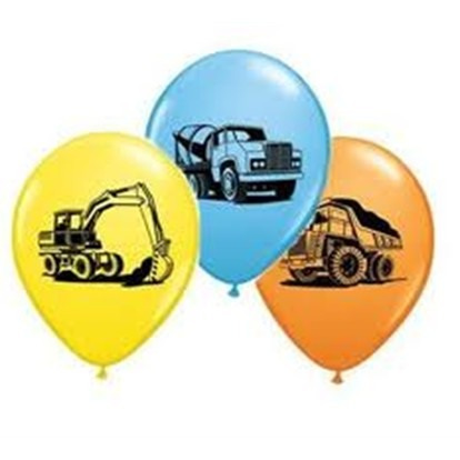 "11"" Construction Trucks Balloons"