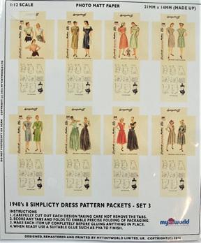 1:12 Replica 1940s Dress Pattern Packets Miniature: Set 3