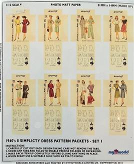 1:12 Replica 1940s Dress Pattern Packets Miniature: Set 1