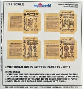 1:12 Replica Victorian Dress Pattern Packets Miniature: Set 1