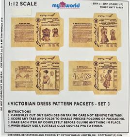 1:12 Replica Victorian Dress Pattern Packets Miniature: Set 3