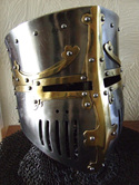 Helmet 8 - 13th Century 'Westminster' Pot Helm with Brass Decoration