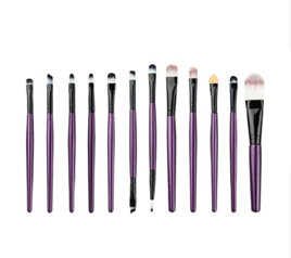12pc Makeup Brush Set Purple & Black