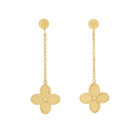 14ct Gold Flower Drop Stud Earrings