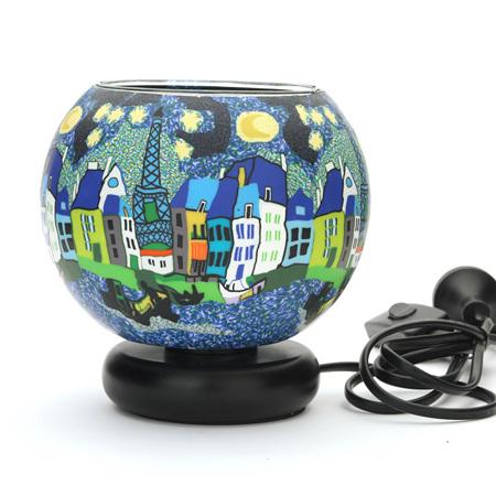 15cm Glass Electric Lamp - Paris by Night