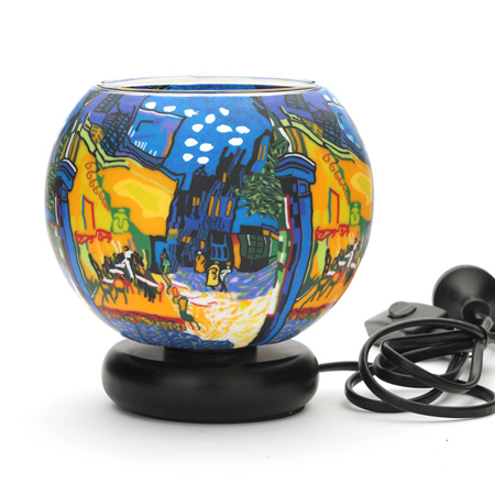 15cm Glass Electric Lamp - Terrace at Night