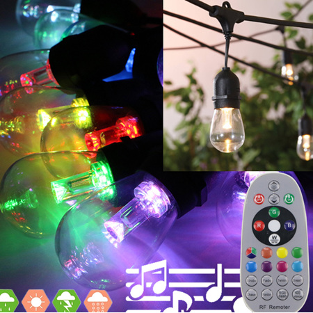 15m  One Colour or Multiple Colour Music Activated Outdoor Festoon Lights