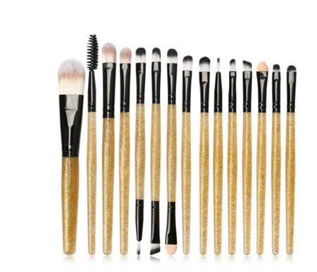 15pc Cosmetic Brush Set *Gold/Black Glitter *