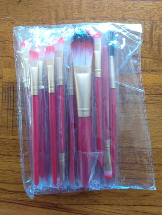 15pc MAKEUP BRUSH SET - RED & GOLD