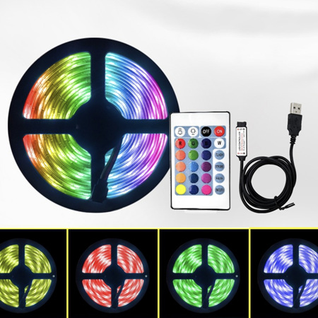 16 Colour USB Plug Strip Lights with Remote Control - 1m